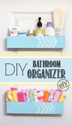 Awesome DIY bathroom organizer for functional storage for inside the closet door.  Perfect for inside vanity doors as well! #ad #SeriouslyStrong