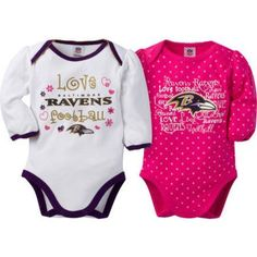 NFL Baltimore Ravens Baby Baby Girls Long Sleeve Bodysuit Set, 2-Pack, Infant Girl's, Size: 18 Months, Purple
