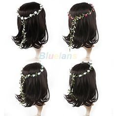 Women Boho Style Floral Flower Festival Wedding Garland Forehead Hair Head Band #Sanjewelry