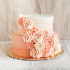 Simple two tier rosette cake 2 Tier Birthday Cakes, 2 Tier Wedding Cakes, Sweet 16 Birthday Cake, 16th Birthday, Simple Birthday Cakes, Wedding Shower Cakes, Pretty Cakes, Beautiful Cakes, Two Tier Cake
