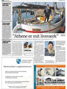 Om åledrivkvasen Athene af Lohals. Lokalavisen Svendborg uge 9, 28. februar 2017. Lohals, Public, Boat, Transportation, Athens, February, Dinghy, Boats, Ship