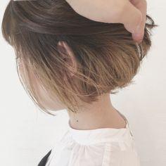Japanese Short Hair, Asian Short Hair, Hair Color Streaks, Hair Highlights, Ombre Hair, Balayage Hair, My Hairstyle, Cool Hairstyles, Hidden Hair Color