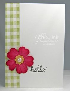 Gingham Pansy Note Card