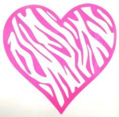 Zebra Stripe Heart Giry Car Truck Laptop Window Vinyl Decal Sticker 12 Colors #TheStickerEmporium
