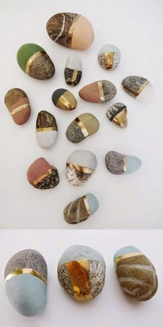 DIY - Paint special found stones with chalk and metallic paint. Give these small painted stones away, make a treasure stone display, or group them in a shadowbox.