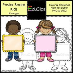 FREE Kids Clip Art...As shown, this is a boy and girl holding up poster boards. They can be pasted onto your documents, letters and printables for a fun way to get your message across. This is a set of 4 images: 2 color & 2 blacklines as shown.JPEG & PNG formats. Saved at 300dpi...TOU included in file. For personal and commercial use.