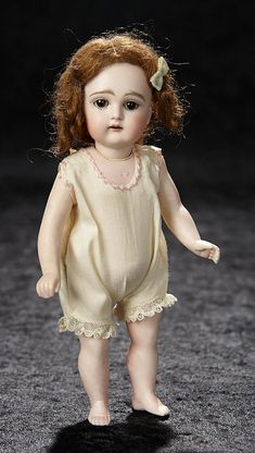"German All-Bisque Miniature Doll by Kestner with Bare Feet 7 1/2"" (19 cm.) https://www.theriaults.com/bijoux-january-6-7-2018-newport-beach-ca"