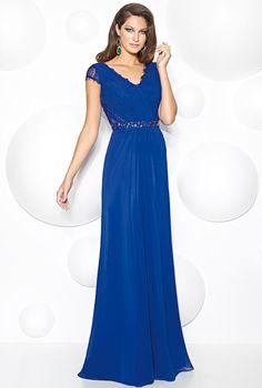 d5c6a788eaec Kelaixiang Blue V Neck Lace Chiffon Long Mother of the Bride Dress ** You  can