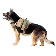 Pettom Service Tactical Dog Harnes Molle Vest Military Army Dog Outdoor Hiking Backpack with Detachable Pouches Patch (L (Girth: 26-39in), Black Suit): Amazon.ca: Pet Supplies