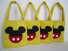 Mickey Mouse Favor Bags set of 4 by SilviaNellysCreation on Etsy, $15.00