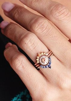 Sunset Sapphire Ring Set | MinimalVS on Etsy