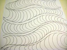 Columns of Cs free motion quilting design