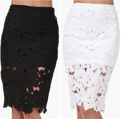 New Women Knee Length Black White Lace Pencil Skirts T71066 Office Lady Hollow Out Embroidery Crochet High Waist Lace Skirt