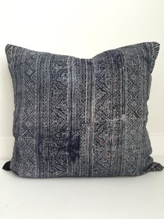 FRONT: This pillow cover is sewn from 2 pieces of vintage, batik, handwoven textile. BACK: Deep envelope enclosed linen COLORS: Batik blue and