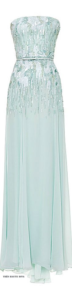 Elie Saab Mint Strapless Embroidered Gown ♔ Resort 2015