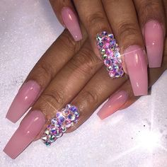 In seek out some nail designs and ideas for the nails? Here's our list of 29 must-try coffin acrylic nails for stylish women. Sns Nails Colors, Love Nails, Best Nail Art Designs, Beautiful Nail Designs, Fancy Nails, Bling Nails, Gorgeous Nails, Pretty Nails, Nail Polish