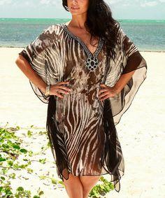 Black & White Sheer Zebra Embellished Cape-Sleeve Tunic by La Moda Clothing #zulily #zulilyfinds