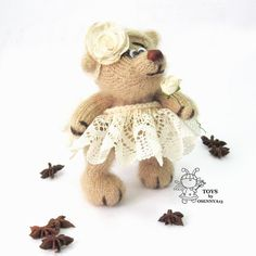 Vintage Bear  knitting pattern knitted round by simplytoys13
