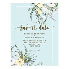 floral pale blue wedding save the date postcard - floral style flower flowers stylish diy personalize