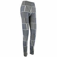 Houndstooth Print Leggings Stretch Legging, Black and White Print Leggings, Black Leggings, Houndstooth, Stretches, Black And White, Pants, Spring, Fashion, Printed Leggings