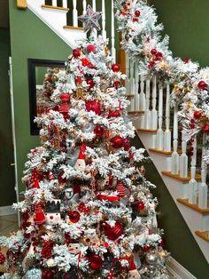 Christmas home decorating flocked christmas tree red christmas ornaments