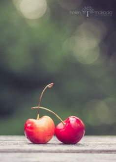 Two Cherries Rainier Cherries Bokeh Gold Red by HelenMPhotography, $15.00
