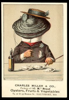 Antique Charles Miller & Co. Baltimore Oysters trade card (1880s).