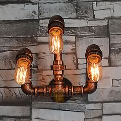 64.38$  Buy now - http://alij6l.worldwells.pw/go.php?t=32725374468 - 3 Heads Nordic Loft Style Industrial Water Pipe Lamp Vintage Wall Light For Home Antique Bedside Wall Sconce Indoor Lighting 64.38$