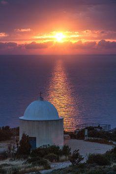 Sunset over the Holy Family Chapel, near Stella Maris monastery, Haifa, Israel