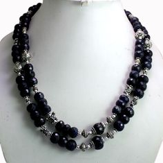 (SKU No. 1059ct) 1059ct Natural Blue Sapphire Designer Beads Necklace Faceted with Silver Beads