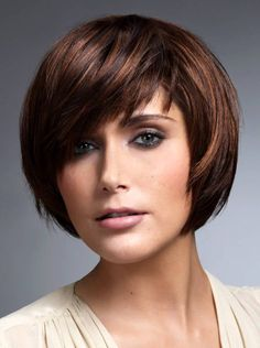 Short Layered Bob Hairstyles with Bangs for oval Faces