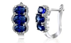 image for 5.22 CTTW Sapphire and Diamond Earrings in 18K White Gold