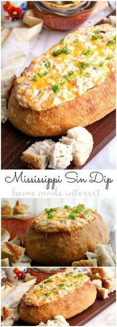 This decadent Missis This decadent Mississippi Sin dip is an...  This decadent Missis This decadent Mississippi Sin dip is an easy appetizer made with cheese and ham mixed together and baked inside a loaf of French bread until it is ooey gooey. The perfect game day appetizer or holiday party appetizer! Recipe : http://ift.tt/1hGiZgA And @ItsNutella  http://ift.tt/2v8iUYW