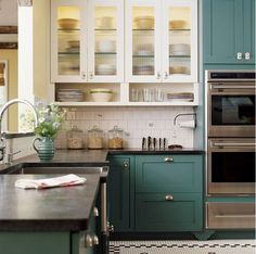 Blue green kitchens bridge the gap between blue and green by using a hybrid color that lends itself to classic, cottage and industrial kitchen styles.