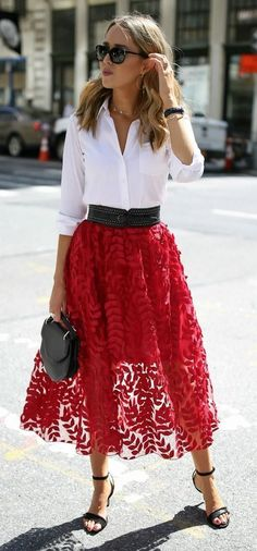 RED MIDI SKIRT + CLASSIC WHITE BUTTON DOWN