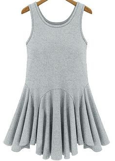 Grey  Pleated Tank Dress