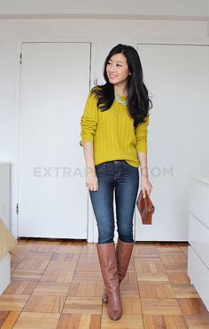 Mustard sweater w/Mint necklace looks much better than expected! Brown boots are perfect addition for fall