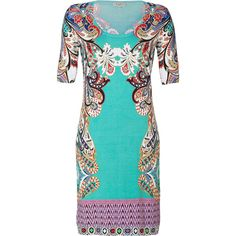 ETRO Ocean-Multi Patterned Silk-Stretch Dress ($795) ❤ liked on Polyvore