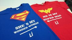 Camisetas complementarias para enamorados ideal para San Valentín  escríbenos 0988363746 #solopublicity #mallelfortin #superman #wonderwoman #love #couple #estampadospersonalizados