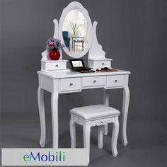 SEA112 - Set mobilier makeup cu livrare rapida http://www.emobili.ro/cumpara/sea112-set-masa-alba-toaleta-cosmetica-machiaj-oglinda-masuta-138 #eMobili
