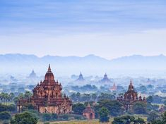 Bagan's ancient city skyline is like nothing else in the world, with ochre stupas and temples rising above the surrounding forests.