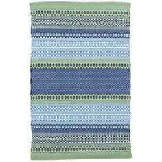 Fiesta Stripe Blue/Green Indoor/Outdoor Rug (9-Sizes)