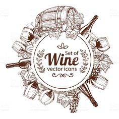 Vintage Wine Circle shape template with sketch wine icons royalty-free stock vector art - Circle shape template with sketch wine icons for packaging, cards, posters, menu. Vintage Wine, Vintage Labels, Wine Icon, Wood Carving For Beginners, Wooden Wine Boxes, Wine Logo, Vintage Trends, Vintage Ideas, Vintage Stuff