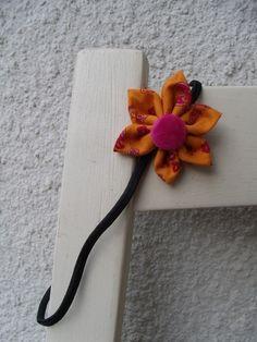 Haarreifen Blüte Blume Haarband orange pink Haar von Krimskrämerei auf DaWanda.com