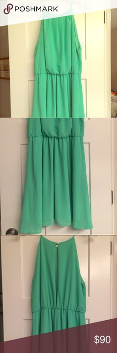 """Light green cocktail dress Beautiful light green cocktail dress with a """"halter neck"""" feel, long keyhole in the back Karlie Dresses Mini"""