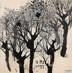 Chinese ink drawings of landscapes by Zhu Naizheng (朱 乃正)