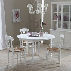 Other Image Ronde tafel in massief dennenhout, 4 personen, kleur. wit, Authentic Style La Redoute Interieurs
