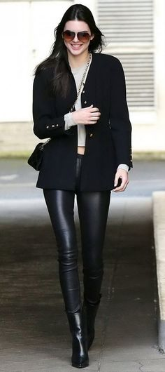 Kendall Jenner In Black Leather Pants