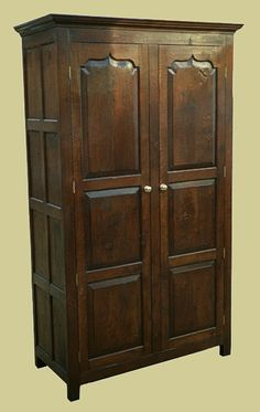 2 Door wardrobe, handmade and hand finished in oak with ogee panelled doors. From our Chalvington bespoke oak wardrobes range. Oak Bedroom Furniture, 2 Door Wardrobe, Panel Doors, Wardrobes, Cupboard, Armoire, Handmade, Home Decor, Clothes Stand