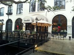 Vic's On The River in Savannah, GA has one of the few al fresco dining spots on Bay Street.